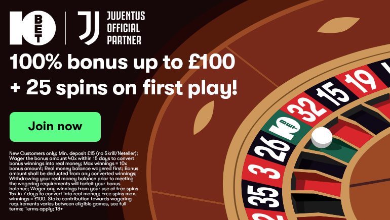10Bet Casino Offering £100 Bonus & 25 Spins in Welcome Deal