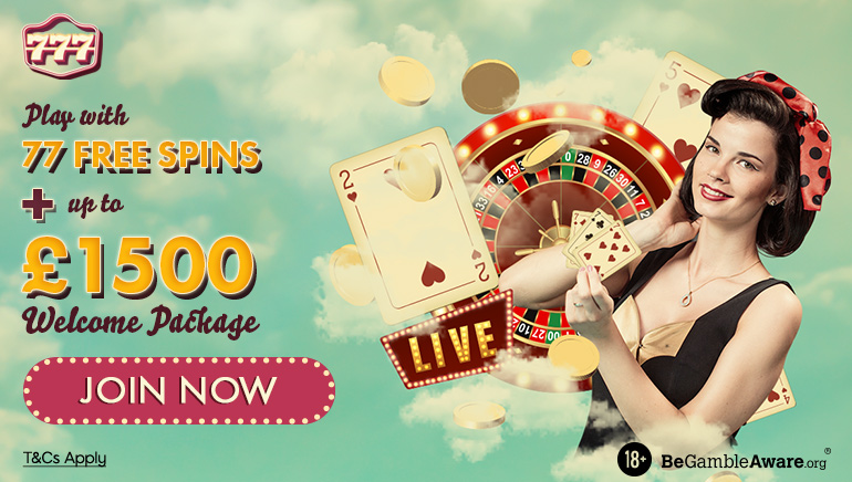 Play with 77 free spins + up to $1500 welcome package