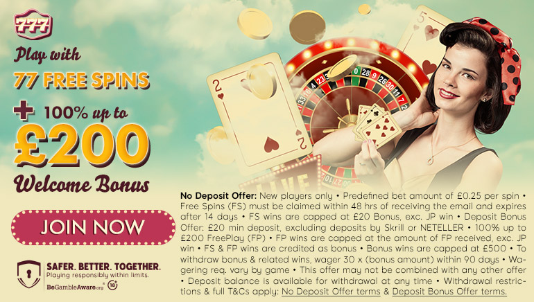 777 Casino Offering 77 Free Spins & £200 Welcome Bonus