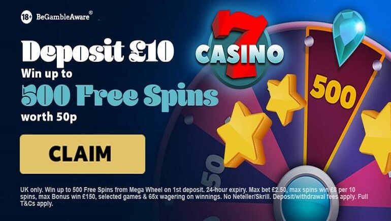 Claim up to 500 Free Spins with 7Casino Welcome Offer