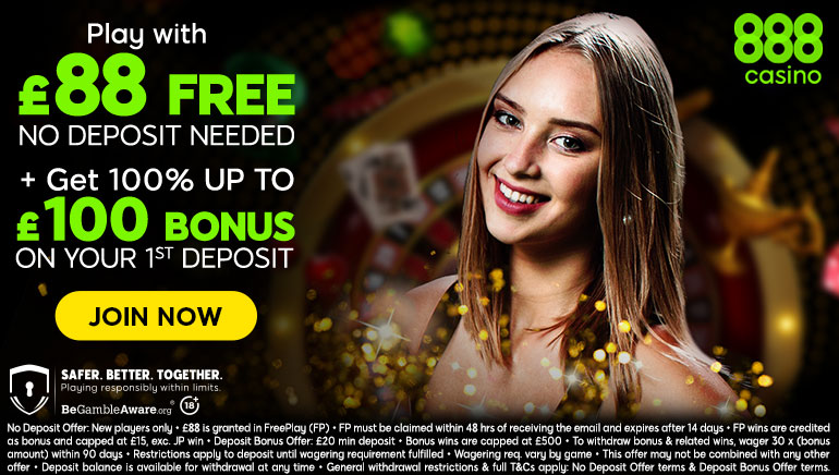 Play with £88 free no deposit needed + get 100% up to £100 bonus on your 1st deposit