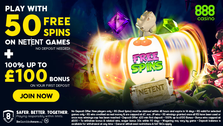 50 Free Spins & £100 Bonus Available for Newbies at 888 Casino