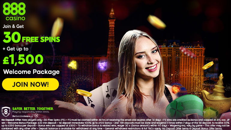 888 Casino's £1,500 Welcome Package & 30 Free Spins