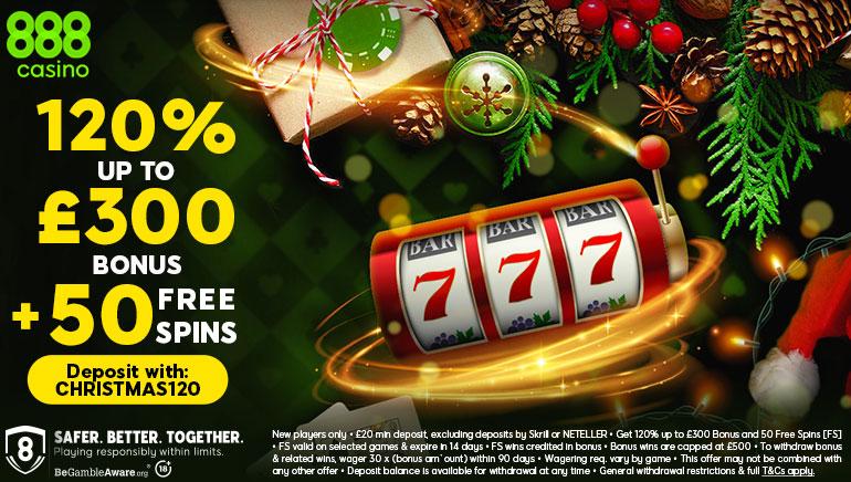 888 Casino Serving Up £300 Christmas Welcome Bonus