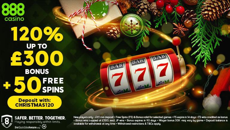 120% Christmas Bonus & 50 Free Spins at 888casino