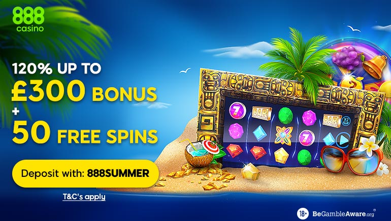 Celebrate Summer at 888 Casino with 120% Welcome Bonus & 50 Spins