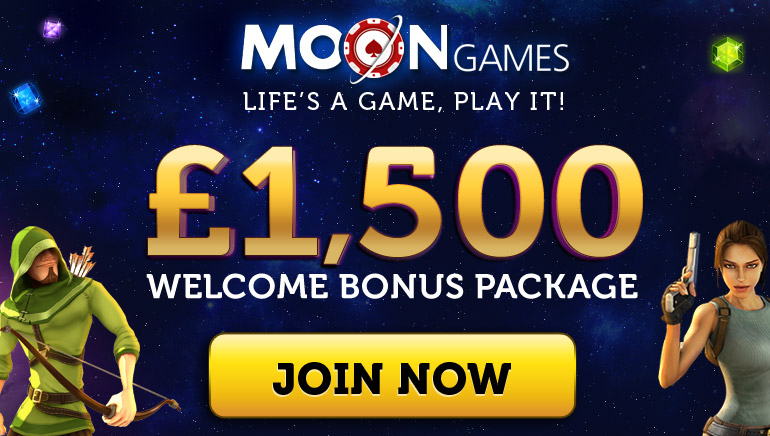 Get a £1,500 Welcome at Moon Games Casino