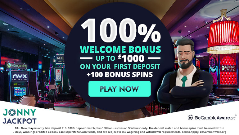 £1,000 Welcome Bonus and 100 Spins at Jonny Jackpot Casino