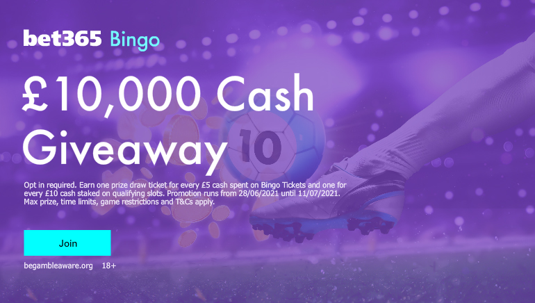 Join the bet365 Bingo's £10,000 Cash Giveaway This Week