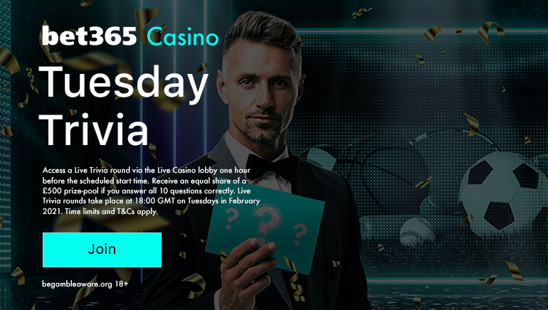 bet365  Hosting Weekly Tuesday Trivia Contest this February