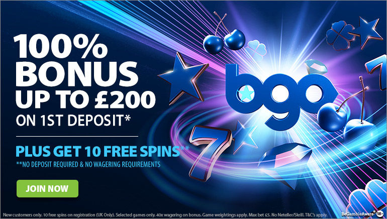 10 Free Spins and £200 Welcome Bonus at bgo Casino