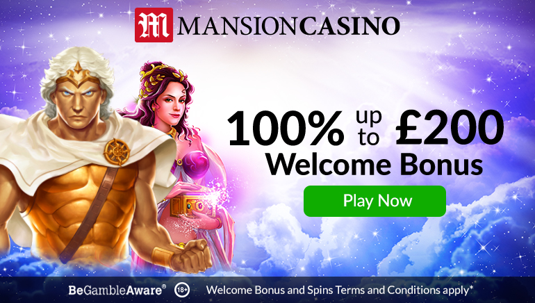 Mansion Casino's 100% Welcome Bonus is Worth up to £200