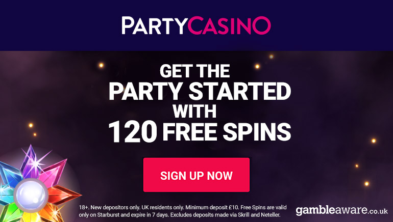 120 Free Spins To Claim At Party Casino
