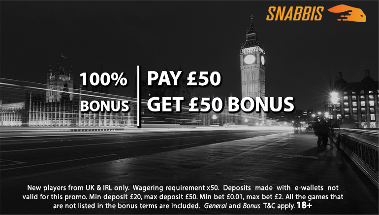 £50 Welcome Bonus Offered by Snabbis Casino