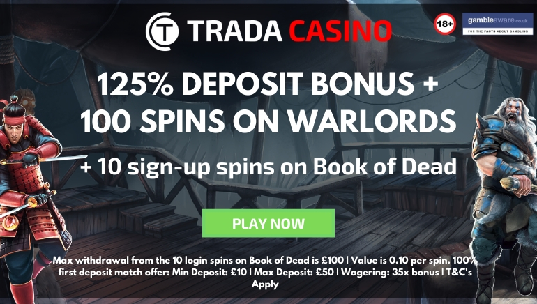 Trada Casino Offering 125% Bonus & 110 Spins for 2020
