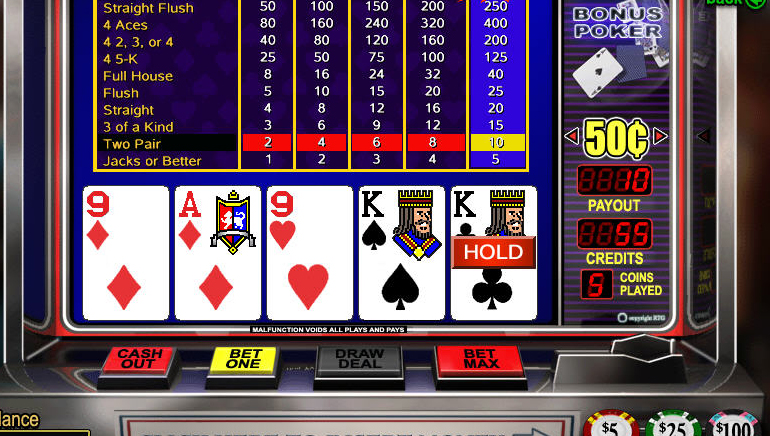 online casino video poker free  games