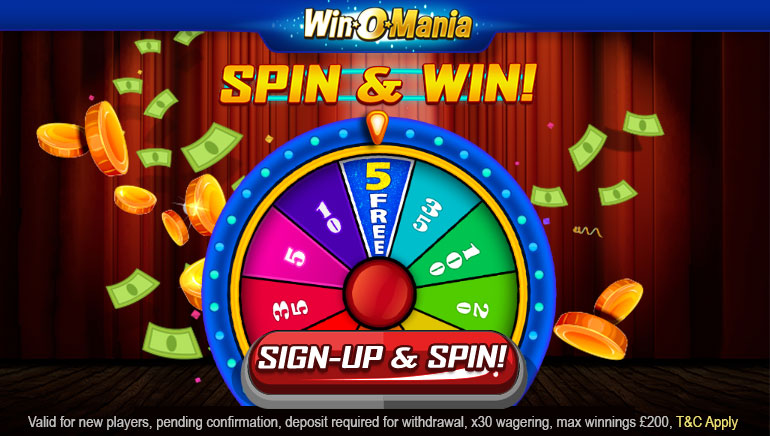 Play the Wheel of Luck at WinOMania Casino