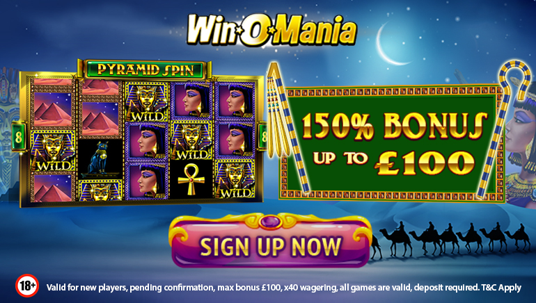 Winomania Casino Providing 150% Welcome Bonus Up to £100