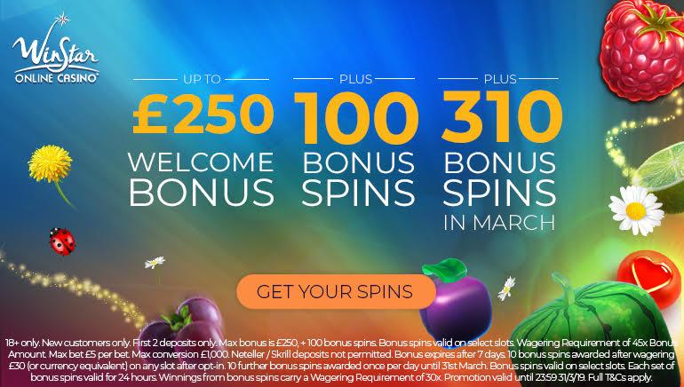 Gain Up to 310 Bonus Spins at WinStar Casino